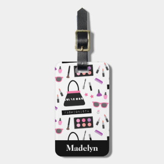 Trendy Fashionista Makeup Girls Name Luggage Tag
