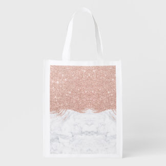 Trendy faux glitter rose gold brushstrokes marble grocery bags