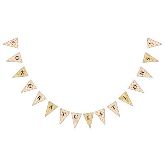 Trendy Faux Gold and Blush Pink Congratulations Bunting Flags