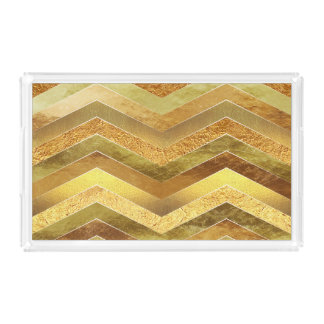 Trendy Faux Gold Foil Chevrons Acrylic Tray