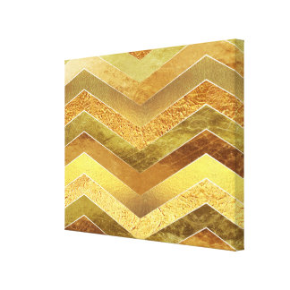Trendy Faux Gold Foil Chevrons Canvas Print