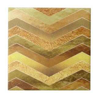 Trendy Faux Gold Foil Chevrons Ceramic Tiles