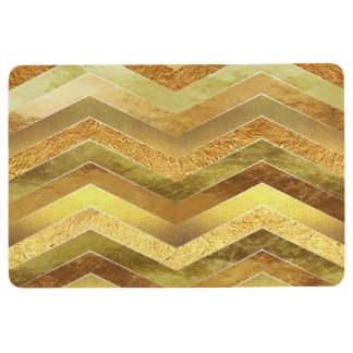Trendy Faux Gold Foil Chevrons Floor Mat