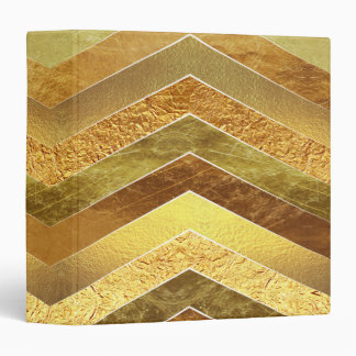 Trendy Faux Gold Foil Chevrons Vinyl Binder