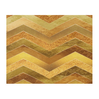Trendy Faux Gold Foil Chevrons Wood Canvases