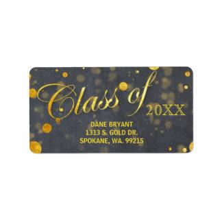 Trendy Faux Gold Foil Confetti Graduation Address Label