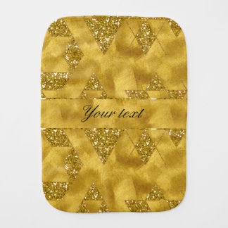 Trendy Faux Gold Glitter Triangles Baby Burp Cloths