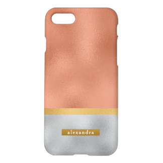 Trendy Faux Gold Rose Gold and Silver Foil iPhone 8/7 Case