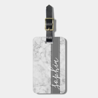 Trendy Faux Marble Pattern with Custom Monogram Luggage Tag