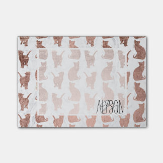 Trendy faux rose gold cats pattern white marble post-it notes