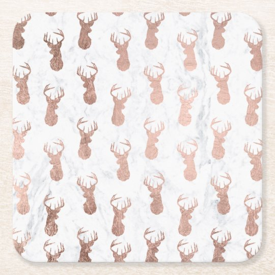Trendy faux rose gold deer pattern white marble square paper coaster
