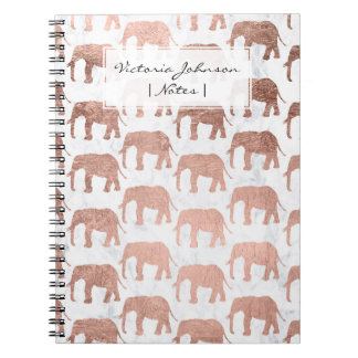 Trendy faux rose gold elephants white marble notebooks