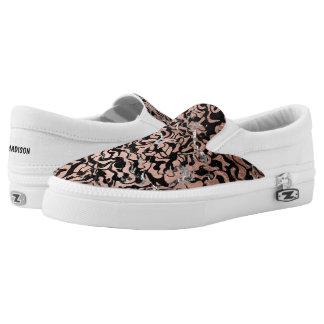 Trendy faux rose gold geometric black marble Slip-On sneakers