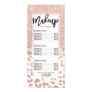 Trendy faux rose gold glitter leopard price list rack card