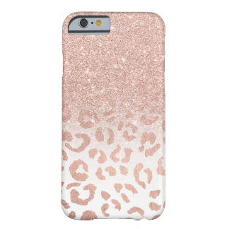 Trendy faux rose gold glitter ombre leopard barely there iPhone 6 case
