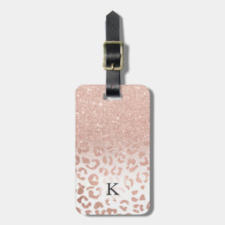 Trendy faux rose gold glitter ombre leopard luggage tag