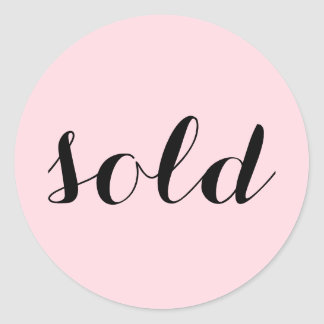 Trendy Feminine Script Typography Custom Sold Classic Round Sticker