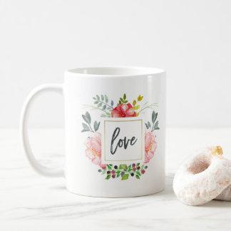 Trendy Feminine Watercolor Peony Flowers | Love Coffee Mug