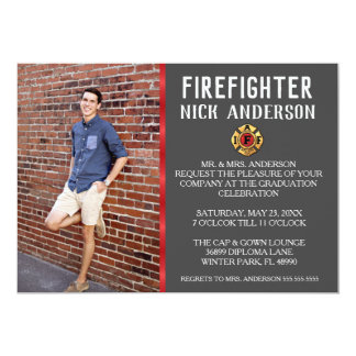 Trendy Firefighter School Graduation Announcement