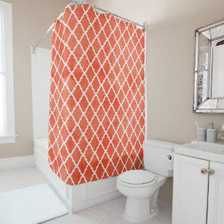 Trendy Flame Orange Watercolor Quatrefoil Pattern