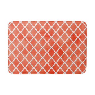Trendy Flame Orange Watercolor Quatrefoil Pattern Bathroom Mat