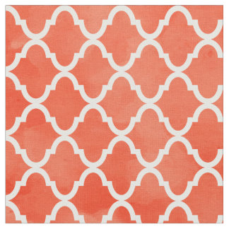 Trendy Flame Orange Watercolor Quatrefoil Pattern Fabric