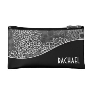 Trendy Floral Curves Personalized Cosmetic Bag