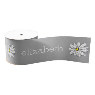 Trendy Floral Daisy with gray yellow custom name Grosgrain Ribbon