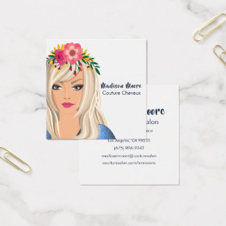 Trendy Floral Girl Beauty Salon Square Business Card