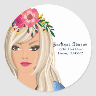 Trendy Floral Girl Business Classic Round Sticker
