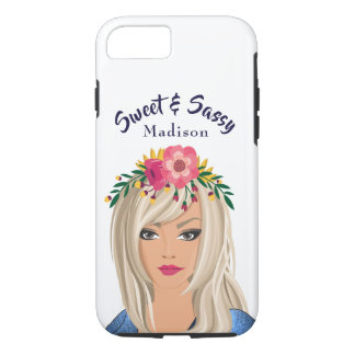 """Trendy Floral Girl """"Sweet And Sassy"""" Case-Mate iPhone Case"""