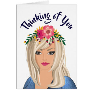 """Trendy Floral Girl """"Thinking Of You"""" Card"""