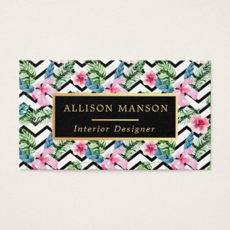 trendy floral pattern business card