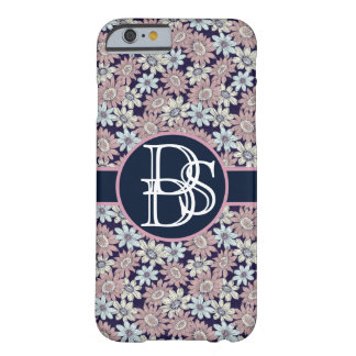 Trendy Floral Pattern with Custom 3letter Monogram Barely There iPhone 6 Case