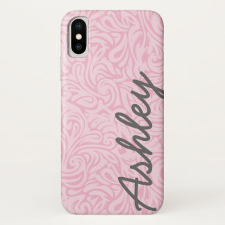 Trendy Floral Pattern with name - pink and gray Case-Mate iPhone Case