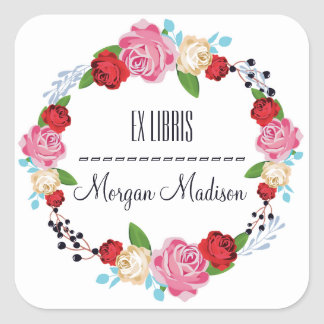 Trendy Floral Roses Wreath Bookplate Square Sticker