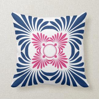 Trendy Floral Throw Pillows:Blue Pink Pillow