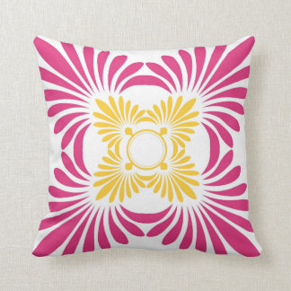 Trendy  Floral Throw Pillows:Pink Yellow