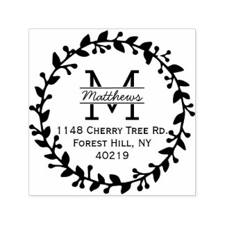 Trendy Floral Wreath Custom Monogram Self-inking Stamp