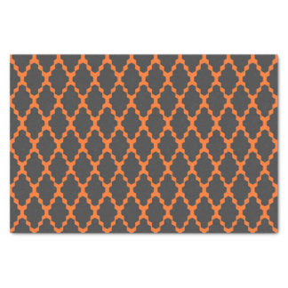 Trendy Geometric Checkered Black Orange Pattern Tissue Paper