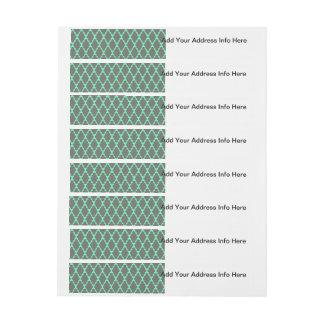 Trendy Geometric Checkered Black Teal Pattern Art Wraparound Address Label