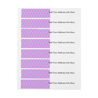 Trendy Geometric Checkered Pink Teal Pattern Art Wraparound Address Label
