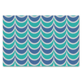 Trendy Geometric Pattern Blue Green Wavy Stripes Tissue Paper