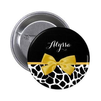Trendy Giraffe Print Golden Yellow Bow With Name 2 Inch Round Button