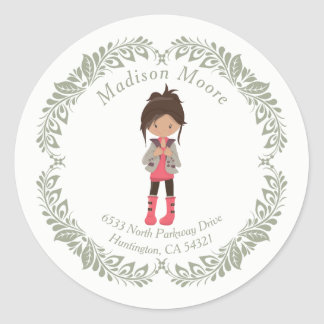 Trendy Girly Avatar Return Address Seal