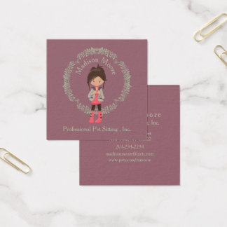 Trendy Girly Avatar Square Business Card