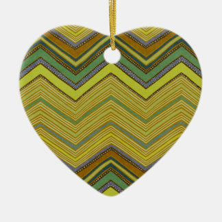 Trendy Girly Brown Yellow Zigzag Pattern Ceramic Heart Ornament