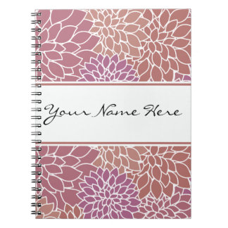 Trendy Girly Elegant Floral Purple and Mauve Notebook