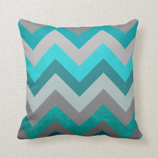 Trendy Girly Gray Teal Chevron Zigzag Pattern Throw Pillow