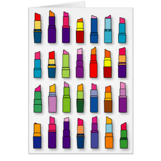 Trendy, girly lipsticks pattern card